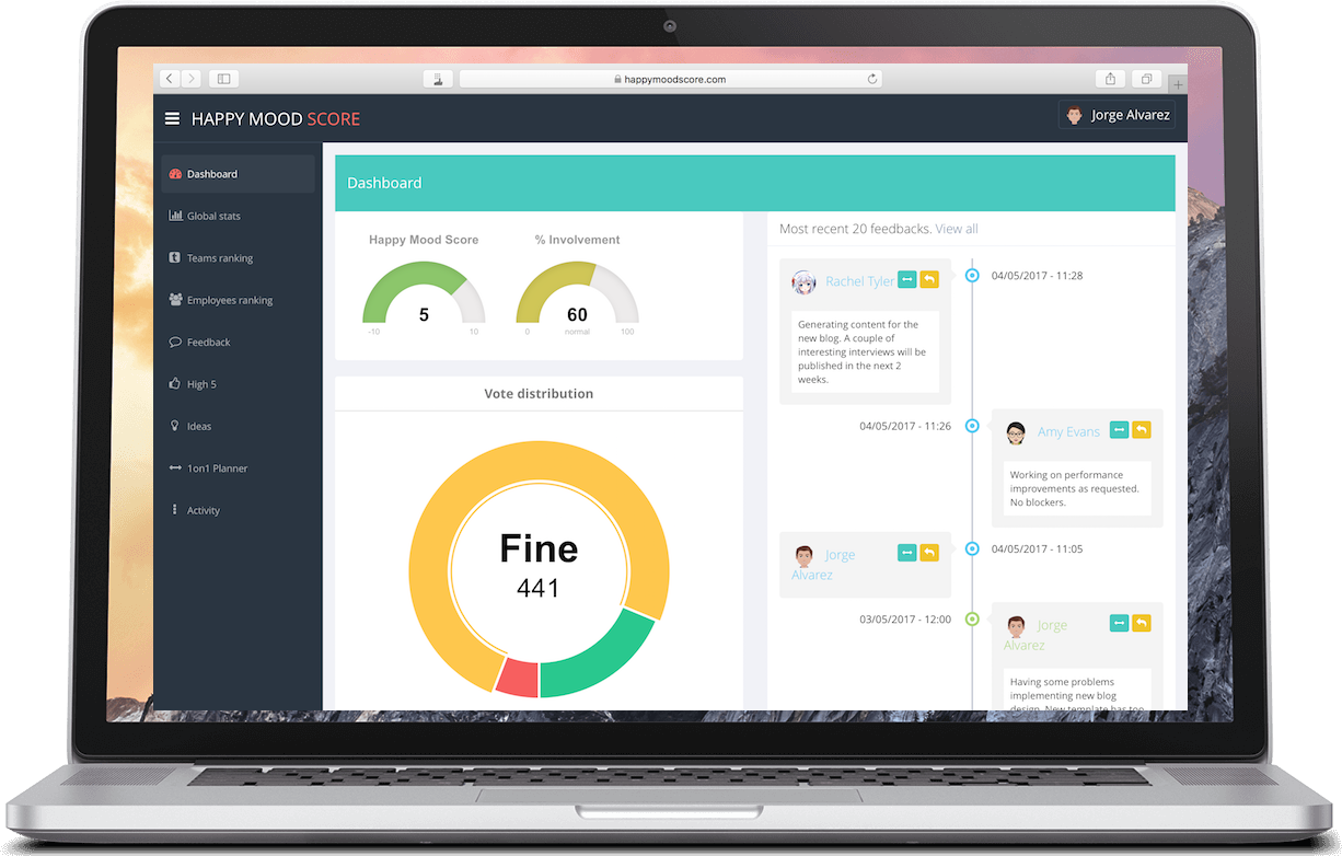 Happy Mood Score helps startups and agile companies to manage happy and productive teams.