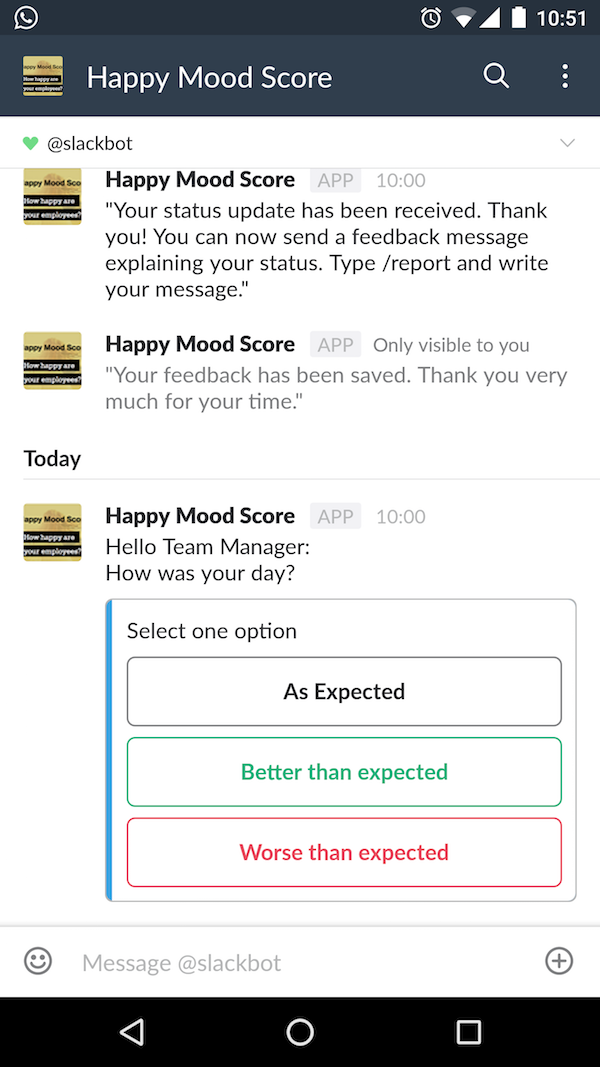 Mood status and feedback request from Slack